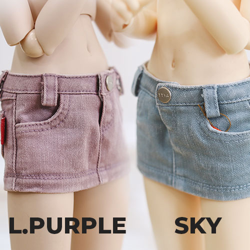 MSD & MDD Stone Washing Cotton Skirt - Sky, Purple