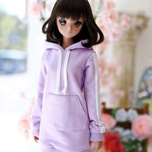 SD13 Girl & Smart Doll Three-Line Hooded One-piece - Purple