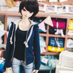 SD13 Girl Hood Zip­up - Navy