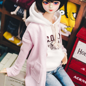 SD13 Girl Natural Deep Slit Long Cardigan - Pink