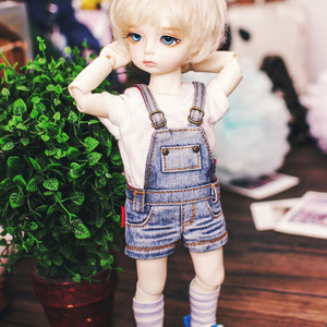 USD Skinny Washing Short Overalls - Blue