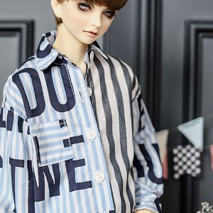 SD17 Lettering Stripe Shirt - Blue