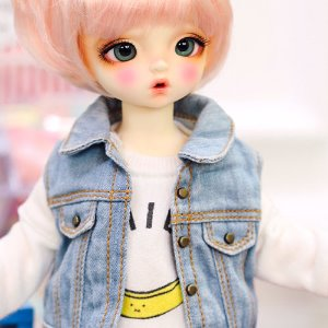 USD Stone Washing Vest Denim Jacket - Sky