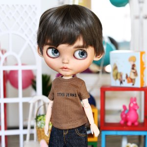 Blythe Color Basic T-shirt  Brown&Pink