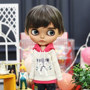 Blythe Cute Raccoon Hooded T - Pink