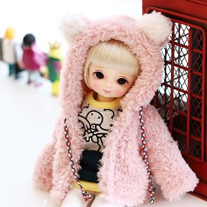 USD Bear hooded fer jacket - Pink