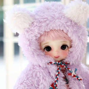 16CM Bear hooded fur jacket - Purple