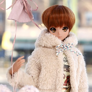 SD13 GIRL&Smart Doll Bear hooded fur jacket - Brown