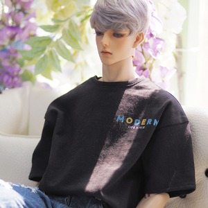 (Pre-Order) [ID75]Color over fit short sleeve T-shirt(Black)