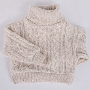[ID75]Twisted turtle-neck knit(Oatmeal)