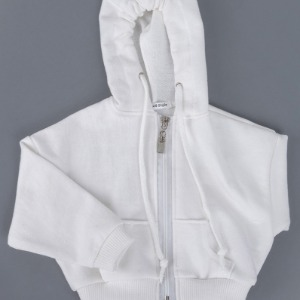 [ID75]Over fit hood zip-up(White)