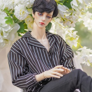 [ID75]Open collar shirt(Black stripe)