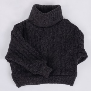[ID75]Twisted turtle-neck knit(Black)